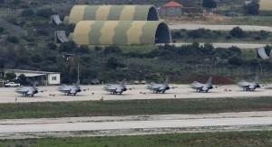Six Norwegian F-16 jets are seen on tarmac of a NATO military base in Souda on the island of Crete